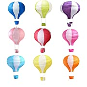 Matissa Pack of 9 Hot Air Balloon Paper Lantern Wedding Party Decoration Craft Lamp Shade (8  (20cm))