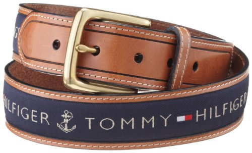 Belt Logoed Buckle Mens (Tommy Hilfiger Men's Ribbon Inlay Belt, Navy, 32)