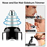 Ear Nose Hair Trimmer, Vansky 2018 Upgraded Nostril Ear Sideburns Facial Hair Clipper Removal for Men Women w/Waterproof Double-Edge Stainless Steel Blades,Wet/Dry Use,Battery-Operated Trimming Tool