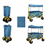 BLUE JUMBO WHEEL FOLDING WAGON ALL PURPOSE GARDEN UTILITY BEACH SHOPPING TRAVEL CART OUTDOOR SPORT COLLAPSIBLE WITH CANOPY COVER - EASY SETUP NO TOOL NECESSARY - COMPACT FOLDED SIZE SPACE SAVING