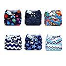 Mama Koala Washable Reusable One Size Baby Pocket Cloth Diapers, 6 pcs + 6 Inserts, Outer Space