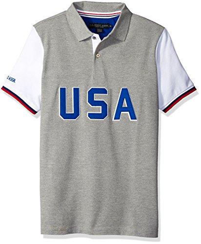 U.S. Polo Assn. Men's Short Sleeve Color Block Slim Fit Pique Shirt, Heather Grey, X-Large