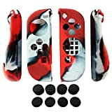 ps2 grand theft auto trilogy - Hikfly 2pcs Silicone Gel Hand Grip Non-Slip Cover Skin Protector Kits For Nintendo Switch Joy-Con Controller With 8pcs Silicone Gel Thumb Grips Caps(Red Camouflage)