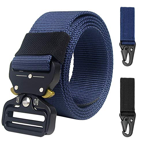 Expedition Pant Blue (Loritta Mens Tactical Belt Heavy Duty Quick-Release Riggers Military Style Web Belt, Navy Blue)