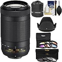 Nikon 70-300mm f/4.5-6.3G VR DX AF-P ED Zoom-Nikkor Lens with 3 UV/CPL/ND8 & 6 Graduated Color Filters + Pouch + Hood + Kit for DSLR Cameras
