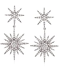 0.94 ct. t.w. Diamond Starburst Drop Earrings in 14kt White Gold