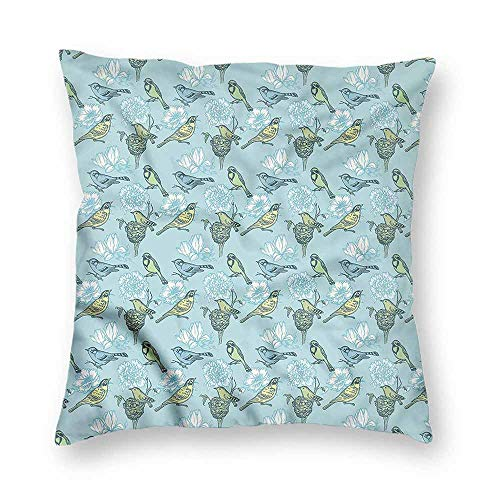 (Mannwarehouse Birds Personalized Pillowcase Eggs Resting in Nest Flower Machine washableW18 x L18)