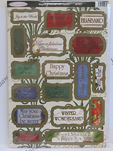 5pc pk Luxury Debbi Moore Magical Christmas Die-Cut Sentiment Toppers AM754 Jackdaw Express