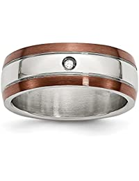 stainless steel chocolate ip plated wdiamond 8mm polished wedding ring band by chisel size 8 13 - Stainless Steel Wedding Rings