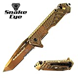 Snake Eye Tactical Heavy Duty Mirror Finish Rescue Style Assisted Open Folding Pocket Knife Outdoors Hunting Camping Fishing (Gold)