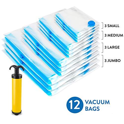 Wonder worker prensa paquete de 12bolsas de almacenamiento al aspiradora con bomba de mano de viaje gratis Jumbo ahorro de...