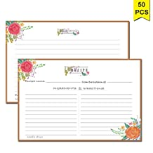 Recipe Cards 4x6 inches by Nardo Visgo, Set of 50 Double Sided Cards Wedding Bridal Shower Cards, Premium Thick Cardstock (brown border)