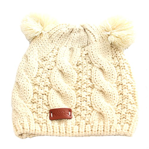 - Aran Traditions Cream White Double Bobble Beanie Hat