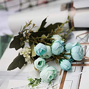 Liveinu Artificial Flowers Silk Plastic Fake Flower Vintage Peonies Bouquet DIY Wreath for Home Wedding Centerpieces Décor Champagne 90