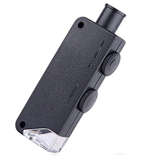 (Qjoy 60X-100X Illuminated Mini Pocket Microscope Magnifier with LED)