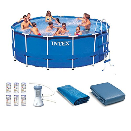 Intex 15' x 48'' Metal Frame Swimming Pool Set w/ Pump and Filter Pump Cartridges by INTEX