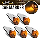 universal cab roof lights - Partsam 5pcs Truck Trailer Amber Lens Yellow 13 LED Super Bright Top Clearance Cab Marker Roof Running Lights Lamps Assembly Universal VS-L157Y-13 Waterproof 12V
