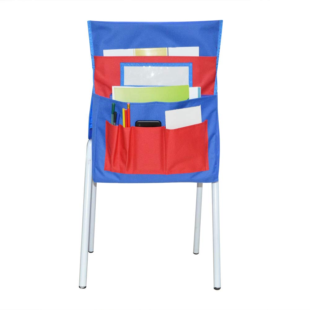Eamay Chairback Buddy Pocket Chart, Chair Storage Suitable for Use On The Chairback Less Than 14 Inches (Blue + Red)