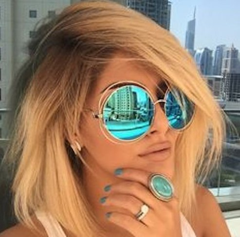 XXL Halo Double Wire Oversized Big Round ROXANNE Bohemian Coachella Sunglasses Color Gold Turquoise - Sunglasses Gold Mirror