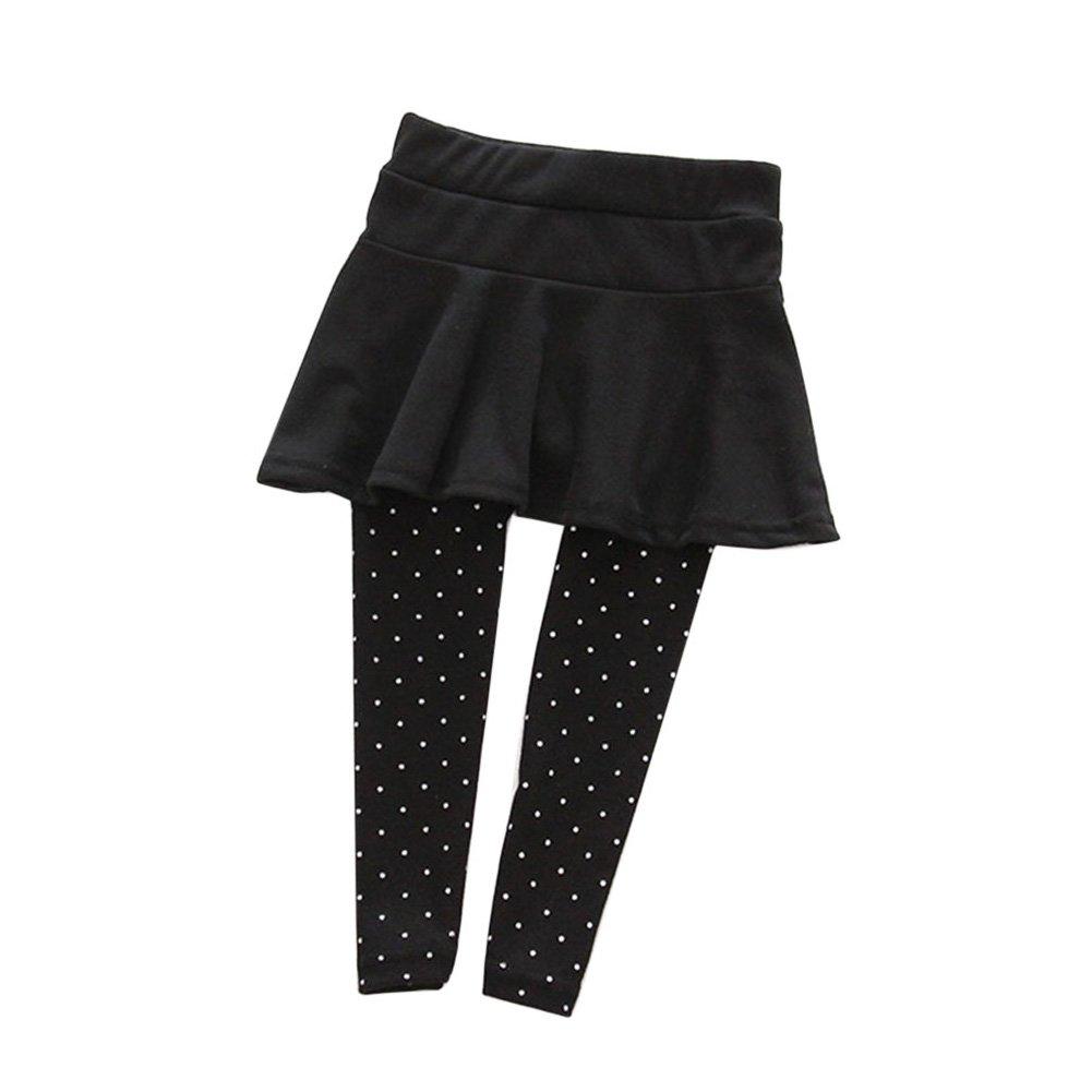 Miyanuby Bambina Legging tinta unita elasticizzata punteggiata Elastico in vita Leggings Pantaloni Gonne Leggings Collant 1-7 anni