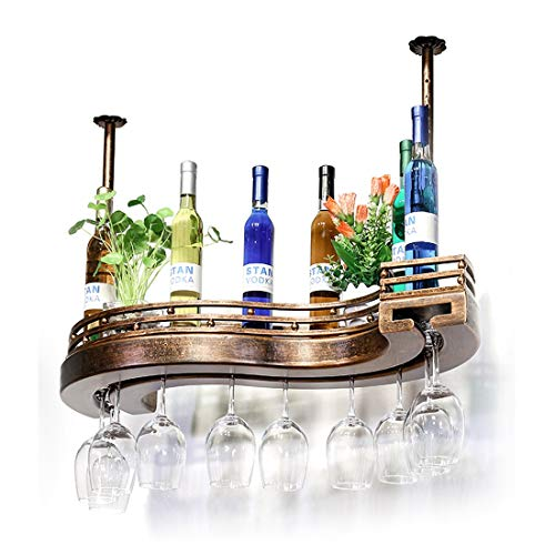 XHRACK Ceiling Wine Rack Height Adjustable Hanging Wine Glass Rack Bar Creative Wine Rack Upside Down Goblet Rack Bar Counter Rack (Size : 6023cm)