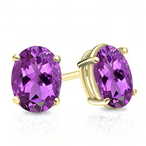 Gold Oval Amethyst Earrings - Dazzlingrock Collection 14K 6x4 mm Oval Cut Amethyst Ladies Solitaire Stud Earrings 1 CT, Yellow Gold