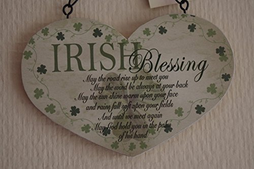 Lucky Irish Blessing Heart Sign May The Road Rise Up To You Sign Plaque Wooden by Global (Irish Blessing Signs)