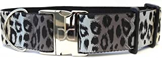 """product image for Diva-Dog 'Midnight Leopard' 2"""" Extra Wide Custom Engraved Dog Collar"""