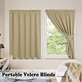 PONY DANCE Portable Blackout Blinds - Window Shades Fastening Strips Thermal Curtains Light Block Privacy Protect Rent House 2 Tiebacks Free No Ring Need, 40'' Wide 45'' Long, Beige, 1 Pair