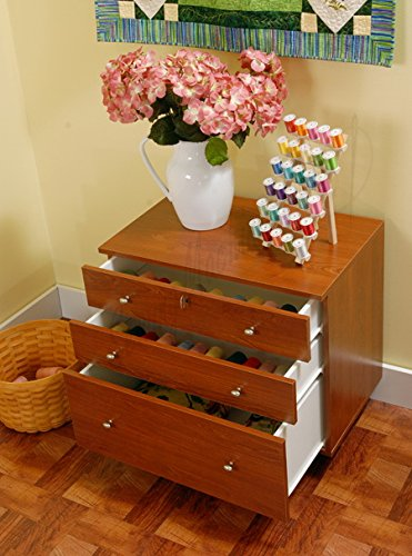 Kangaroo Kabinets K7805 Joey, Three Drawer Sewing Storage Sidekick, Teak