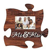 Mr & Mrs Script Brown Distressed Wood Look 4 x 6 Wood Puzzle Wall Plaque Photo Frame