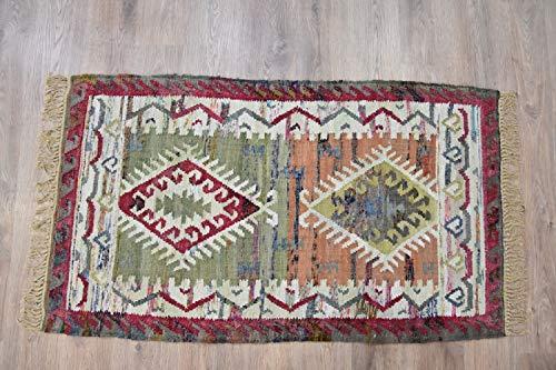 Timbergirl AA9015R35 Kilim Sage Coral Cotton Handmade 3'x 5' Area Rug, Green ()