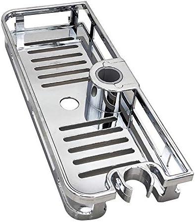 ドリルシャワーシェルフトレイなし、シャワーラックオーガナイザーホルダー、パンチングキッチンバスルームアクセサリー不要、高さ調節可能