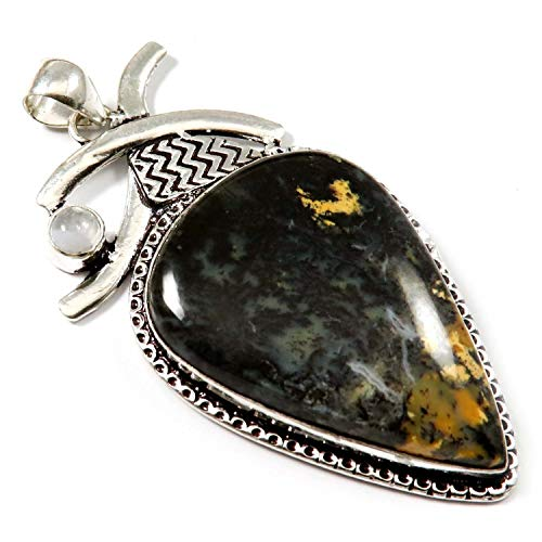 GoyalCrafts Pendant Natural Honey Dendritic Agate Gemstone Silver Plated Jewelry GPI159