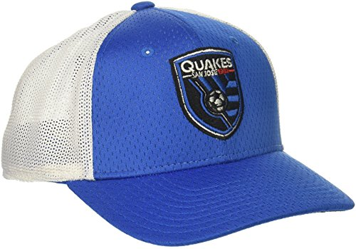 adidas MLS San Jose Earthquakes Adult Men Meshback Structured Flex, Small/Medium, Blue