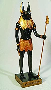 11.88 Inch Gold and Black Color Egyptian Anubis Dog Standing Figurine