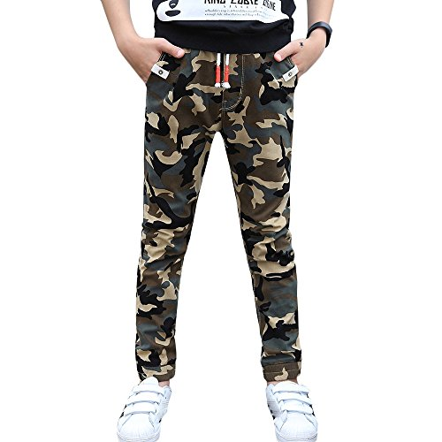 CNMUDONSI Big and Teenager Boys Pants Cotton Long Casual Camouflage Spring Autumn Clothing (8, M735-Green)