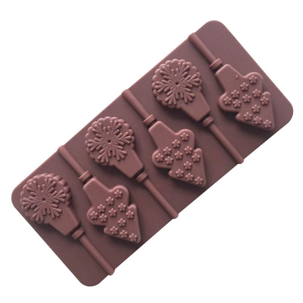 Baking Molds, 6 Holes Chocolate Silicone Cake Mould Baking Christmas Tree & Snow Lollipops Shape Christmas Decor Mold,3Pcs