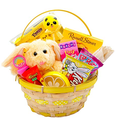 Yellow Easter Basket for Kids and Adults - Easter Gift Basket Filled with Premium Solid Milk Chocolate Easter Bunny - Easter Basket Filled with Candy and Toys - BONUS Slime Putty