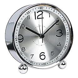 4-inch Table Clock Ultra-quiet Metal Small Alarm Clock, Classic Retro Style Quartz Clock, Desk Cupboard Bedside Travel Alarm Clock (CS-AC06)(silver)