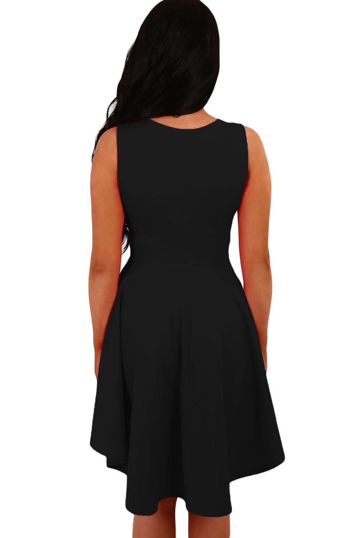 New Woman s Black Up Down Hemline Skater Dress Prom Dress Evening Party  Wear Plus Size M UK 10-12 EU 38-40  Amazon.co.uk  DIY   Tools dffd3f15a