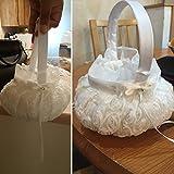 Onner Wedding Flower Girl Basket, Satin Bowknot for Wedding Ceremony Party Props Basket