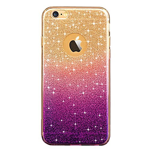 TYoung [Gradient Color] Soft TPU Full Around Shockproof Bling Bright Case Anti-Scratch Cover Shell Bumper Skin Protector for iPhone 7 - Gradient Purple