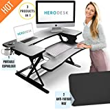 """HeroDesk New! Height Adjustable Standing Desk with Anti-Fatigue Mat & Cup Holder 