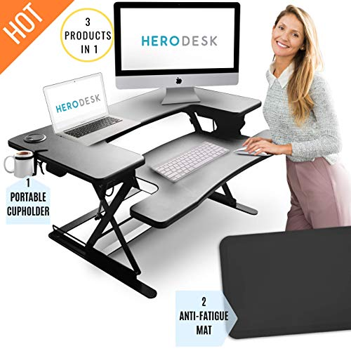 HeroDesk New Height Adjustable Standing Desk with Anti-Fatigue Mat Cup Holder Wide Surface Stand Up Workstation – Sit Stand Converter Riser – Compact Desktop Computer Laptop Work Table – 35