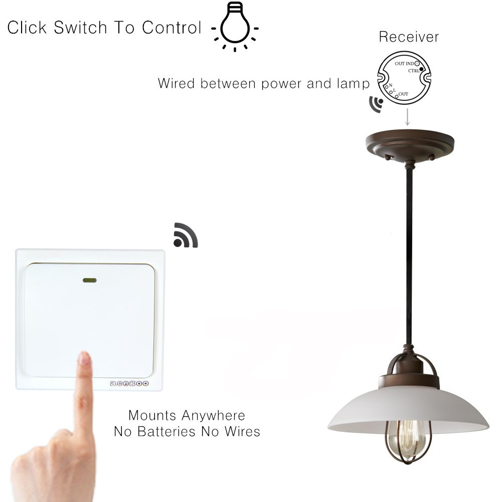 Acegoo Wireless Lights Switch Kit No Battery Wiring Quick Light Operated Circuit Create Or Relocate On Off Switches For Lamps Fans Appliances Self Powered Remote