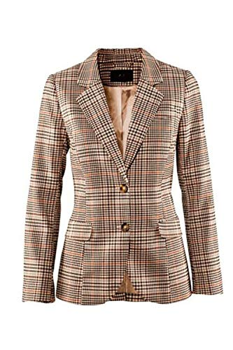 Bavero Bavero Bavero Manica Lunga Fit Suit Ragazzi Business Qualità Di Donna Donna Donna Donna Leisure Reticolo Slim Camicia Giubotto Autunno Alta Brown Button Outwear Classiche 0q8wSIY