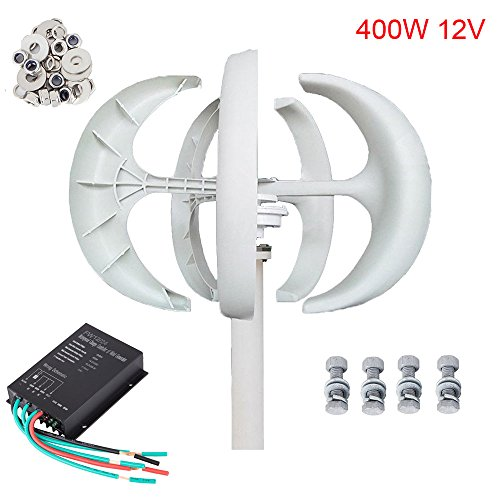 Seeutek Wind Turbine Generator Red Lantern 5 Leaves Vertical Axis 400W Kit with Controller (White 12V)