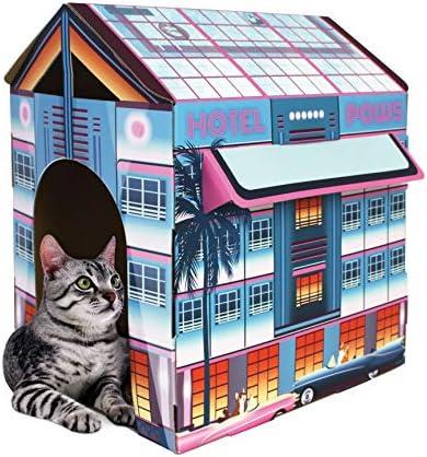 American Cat Club Miami Vibes Hotel Cat House Scratcher w Catnip