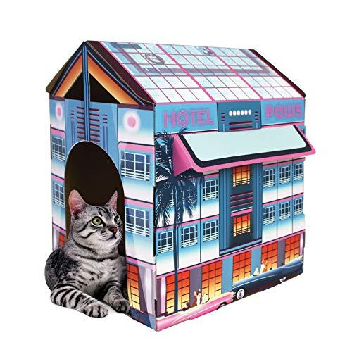 American Cat Club Miami Vibes Hotel Cat House & Scratcher w/ Catnip